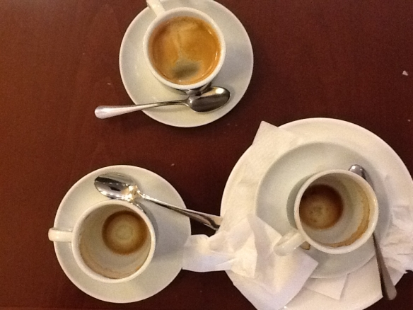 My three coffees at El Fornet